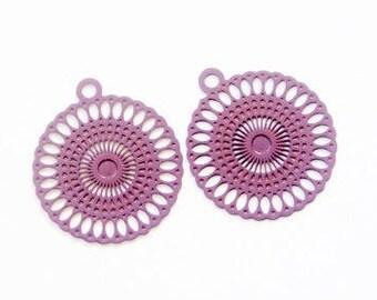 Engraving plate round filigree purple Plum (set of 2)