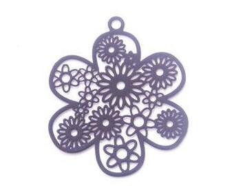 Black filigree metal flower charm
