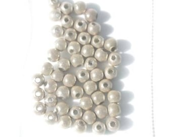 Bag of 50 PC wood beads Magic 4mm beige / taupe