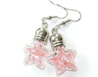 Star earrings filled with pink rhinestones glass