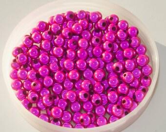 80 x 6mm round magic beads, fuchsia round beads, fuchsia pink magic beads, 80 6mm round beads, creative supplies, pearls