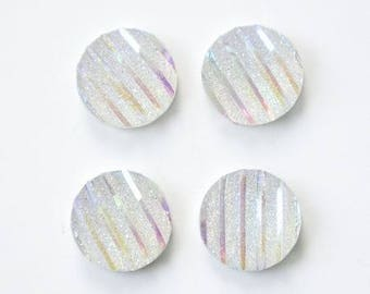 Flat 10mm iridescent striped glittery white resin cabochon