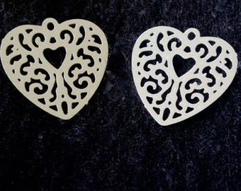 Engraving plate (set of 2) silver metal filigree heart shape