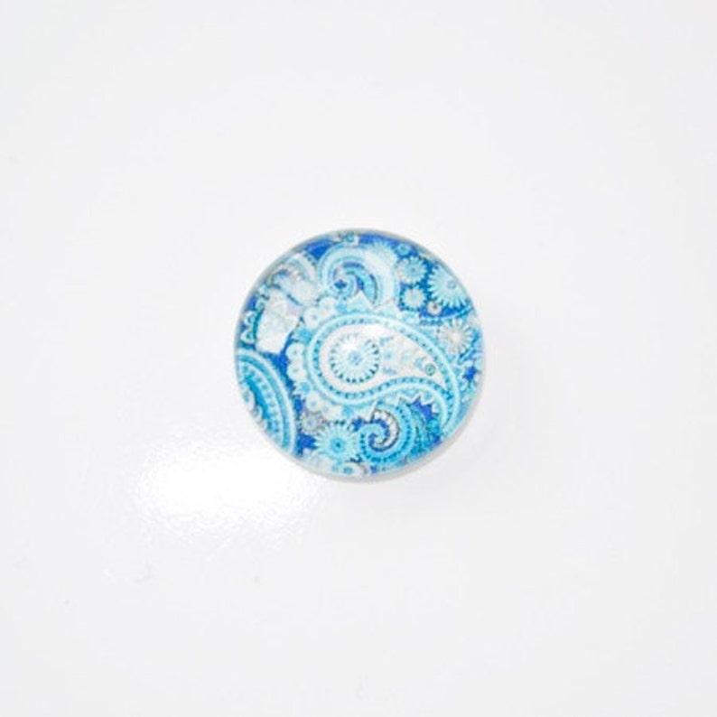 5 x Round glass cabochons 14mm cashmere pattern