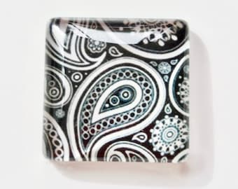 Cabochons (x5), square glass cabochons, 25mm cabochons, illustrated cashmere pattern cabochon, black and white cabochon, gluecabo