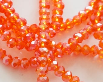 Pearls (x50), flat round beads faceted orange 4mmx3mm, oval crystal beads, beads, beads for jewelry creation,