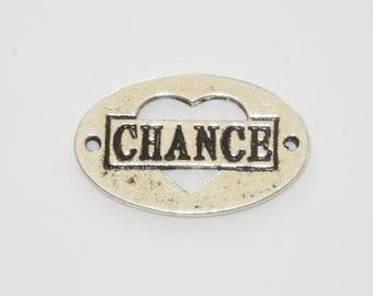"""""""Luck"""" metal connector plate silver"""