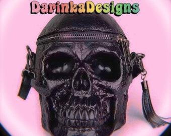 3D Printed Kawaii Black Skeleton Gothic Faux Leather Cross Body Bag