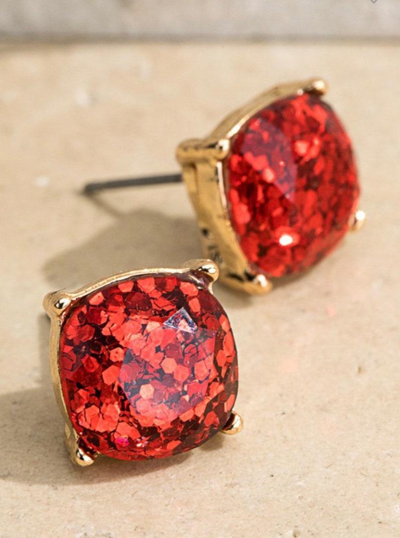 Red Glitter Stud Earrings ~ Post Earrings ~ 100/% Handmade Jewelry ~ Charming ~ Sparkling