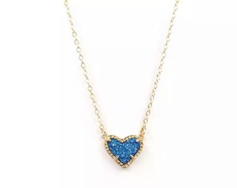 """Handmade ~ Turquoise Blue Druzy Heart Necklace ~ 18"""" Chain ~ Pendant ~ Charm ~ Gold ~ Drusy"""