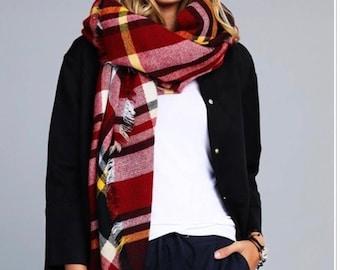 Burgundy Plaid Blanket Scarf