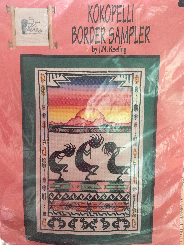 kokopelli border sampler counted cross stitch jmkeeling