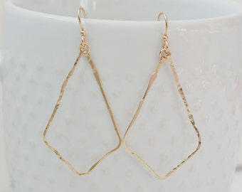 Gold Hammered Teardrop Earrings by The Statement House, Gold Filled Dangle Hoop Earrings, Sterling Silver or Rose Gold Hoop Option