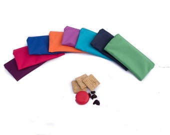 Set of 10 Reusable Snack Bags, Assorted multicolor, ecofriendly zipper pouch