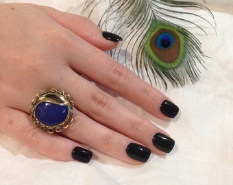 Vintage Navy Button Ring