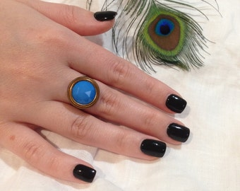 Beautiful Blue Vintage Button Ring