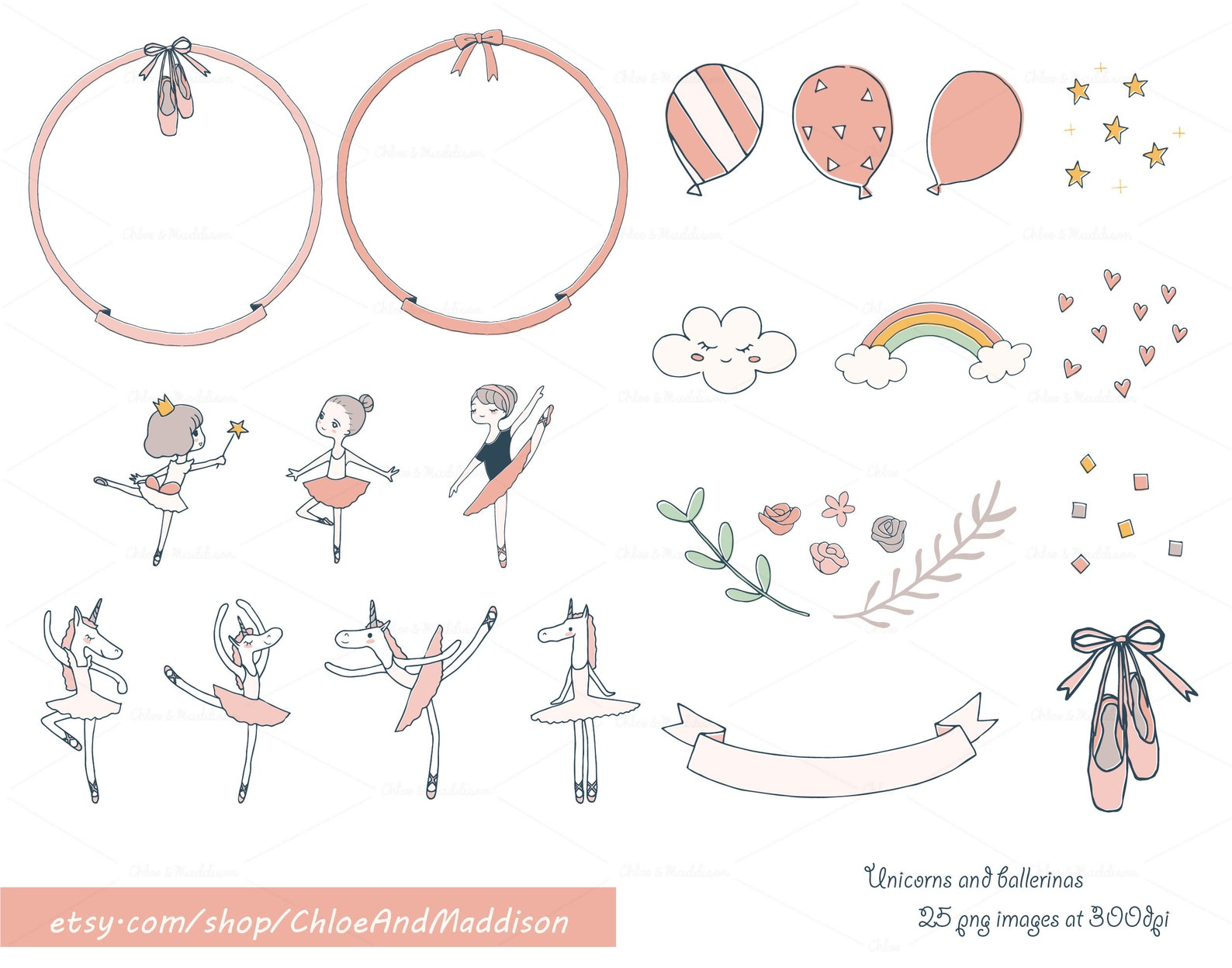unicorn ballet party clipart | unicorns tutus ballerina vector | birthdays invites cardmaking scrapbook | 25 png 300dpi | instan
