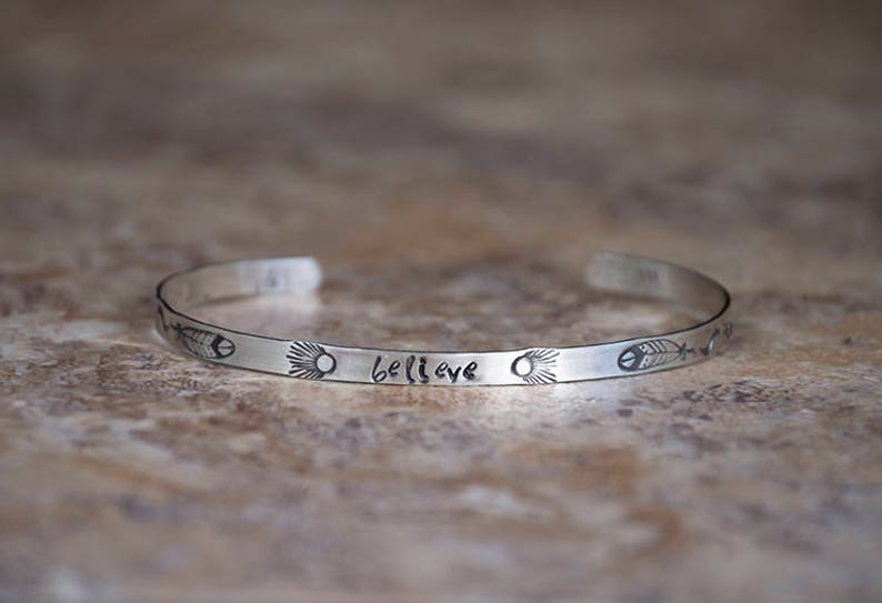 Inspiration Bracelet Cuff  Believe  Sterling Silver image 0