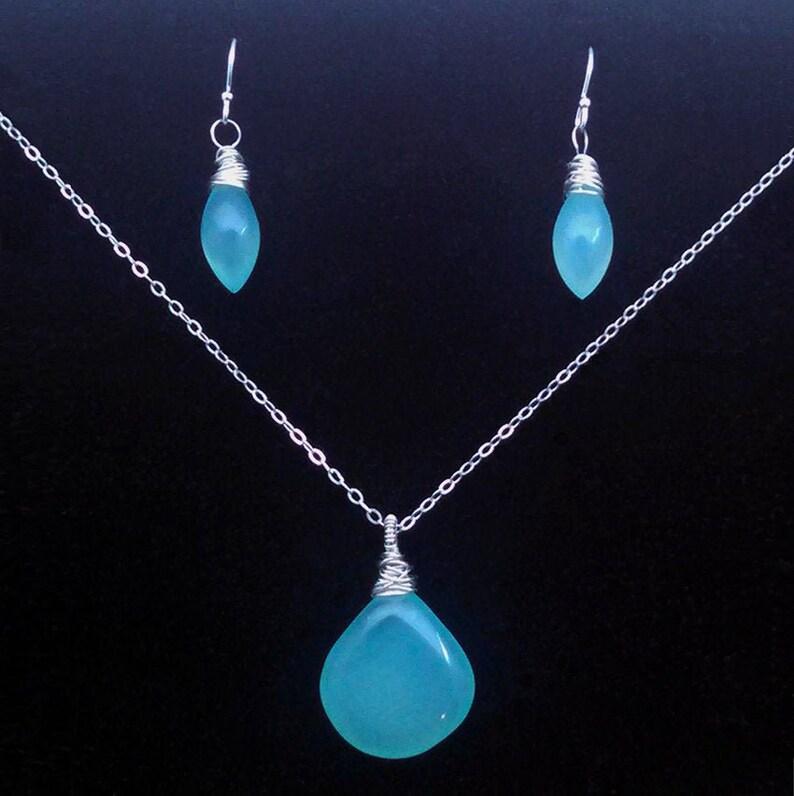 Sea Foam Chalcedony Sterling Silver Necklace Earrings Set image 0