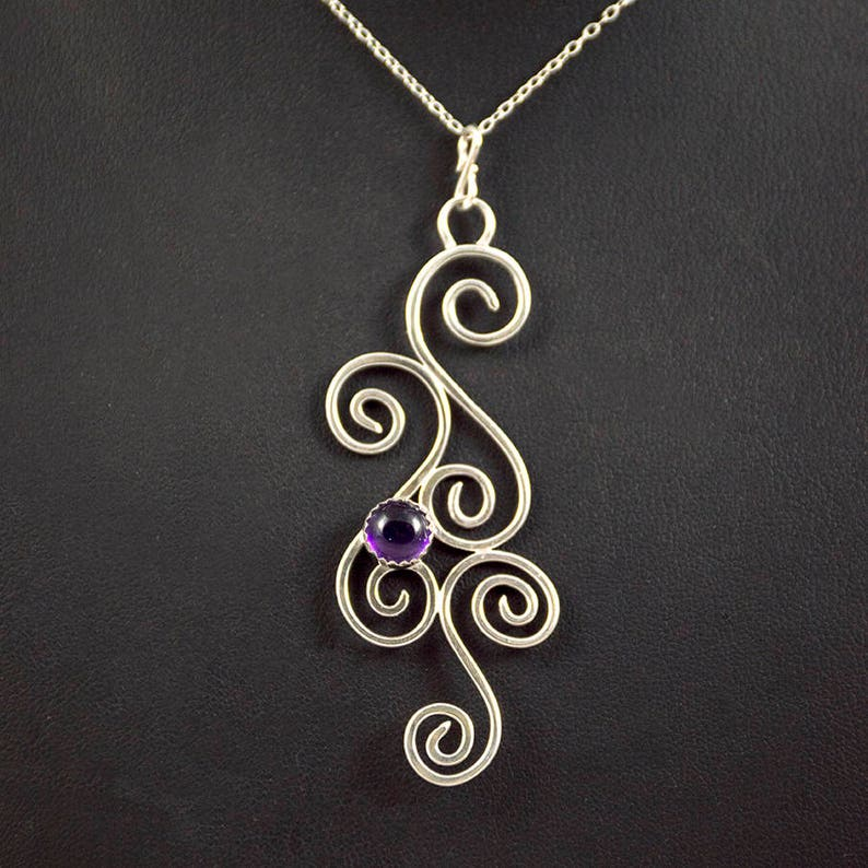 Custom Sterling Silver Pendant Necklace  Swirls  Gift  image 0
