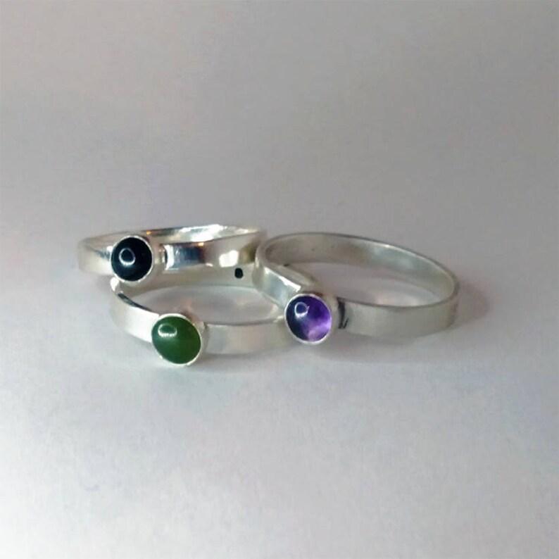 Sterling Silver Gemstone Stacker Rings image 0