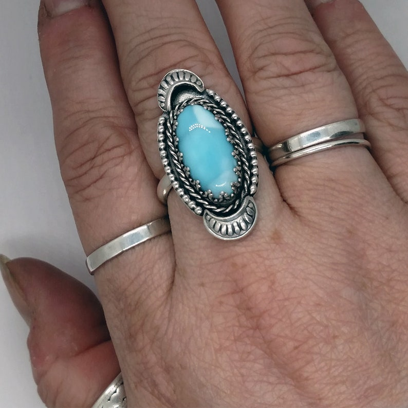 Larimar Ring Sterling Silver Size 11.5 Large size blue mermaid image 0