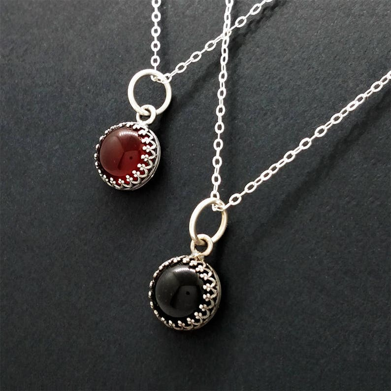 Carnelian or Onyx Sterling Silver Pendant Necklace Gothic image 0
