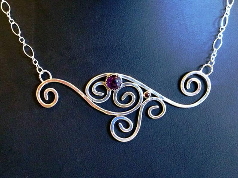 Amethyst & Garnet Sterling Silver Necklace Swirls Silver image 0