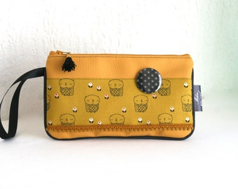 Popsy leatherette pouch and mustard cotton Owl Collection