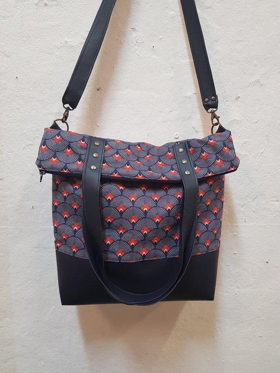 coton en Colette Etsy sac Grand de simili toile et Bandoulière cuir CtEzwq