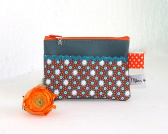 Wallet faux leather and cotton Collection Lichen slate