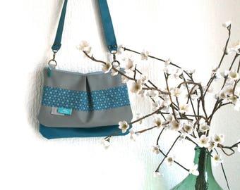 Bag lined teal pockets Asanoha collection