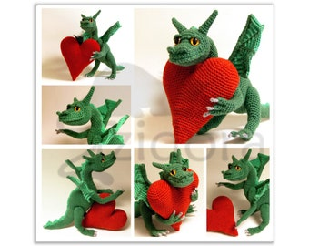 PATTERN (English Only): Dragon of Love - crochet dragon, amigurumi dragon, amigurumi pattern, fantasy crochet pattern - Instant PDF Download