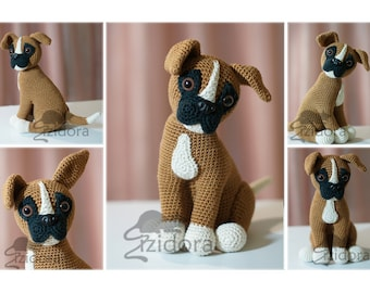PATTERN (English Only):  Boxer Puppy - crochet dog, crochet puppy, crochet boxer dog, amigurumi dog - Instant PDF Download