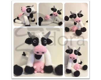 PATTERN (English Only): Bella the Cow, crochet cow, crochet animal, amigurumi cow - Instant PDF Download