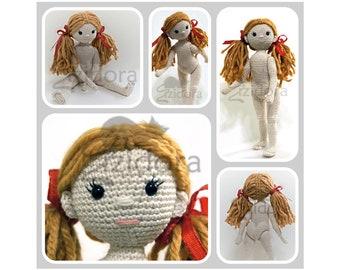 PATTERN (English Only): The Zizidora Doll - crochet doll, amigurumi girl, amigurumi doll, crochet jointed doll - Instant PDF Download