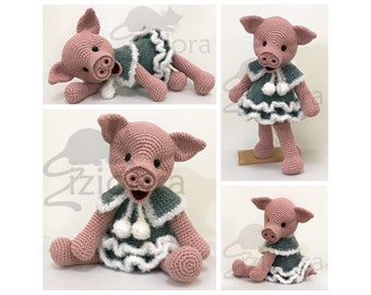 PATTERN (English Only): Little Miss Winter Piggy -  Amigurumi Pattern, Crochet Pig Pattern, Amigurumi Pig - Instant PDF Download