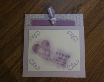 Handmade purple note pull card.  Valentines Day Card.  Stamped and chalked.  Love you just the way yout are.