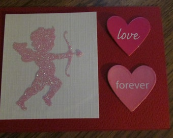 Handmade cupid and heart love card.  Valentine Card.