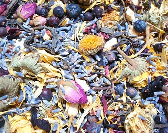 Herbal Bath Tea, Lavender, Green Tea, Rose Petals, Calendula, Jasmine, Hibiscus, Juniper Berries, No Salt Bath Tea