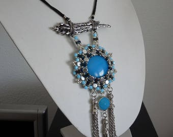 Modern Blue  crystal beaded necklace  Geometric Necklace