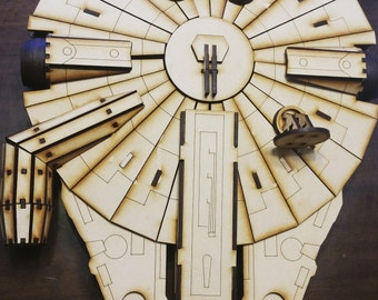Similar to Star Wars Millenium Falcon wood laser cut model