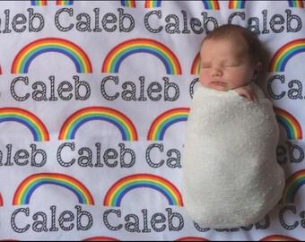Personalized swaddle, rainbow baby name blanket, rainbow name blanket, Rainbow blanket, Rainbow Swaddle