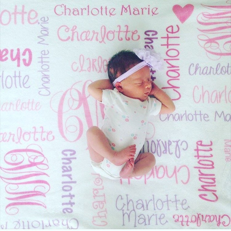 SALE Personalized Baby Blanket Baby Girl Blanket image 0