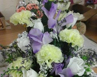 Delicate vintage style iris flower table arrangement