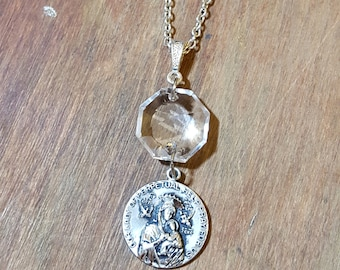 Our Lady of Perpetual Help Sterling Silver Medal Necklace Chandelier Crystal Free U.S. Shipping