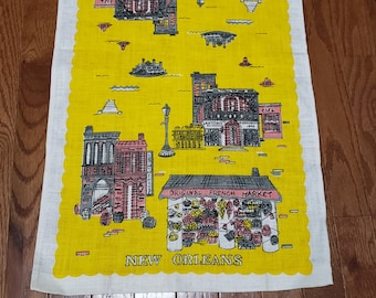 Vintage New Orleans Souvenir Towel Yellow Gray Pink Free US Shipping