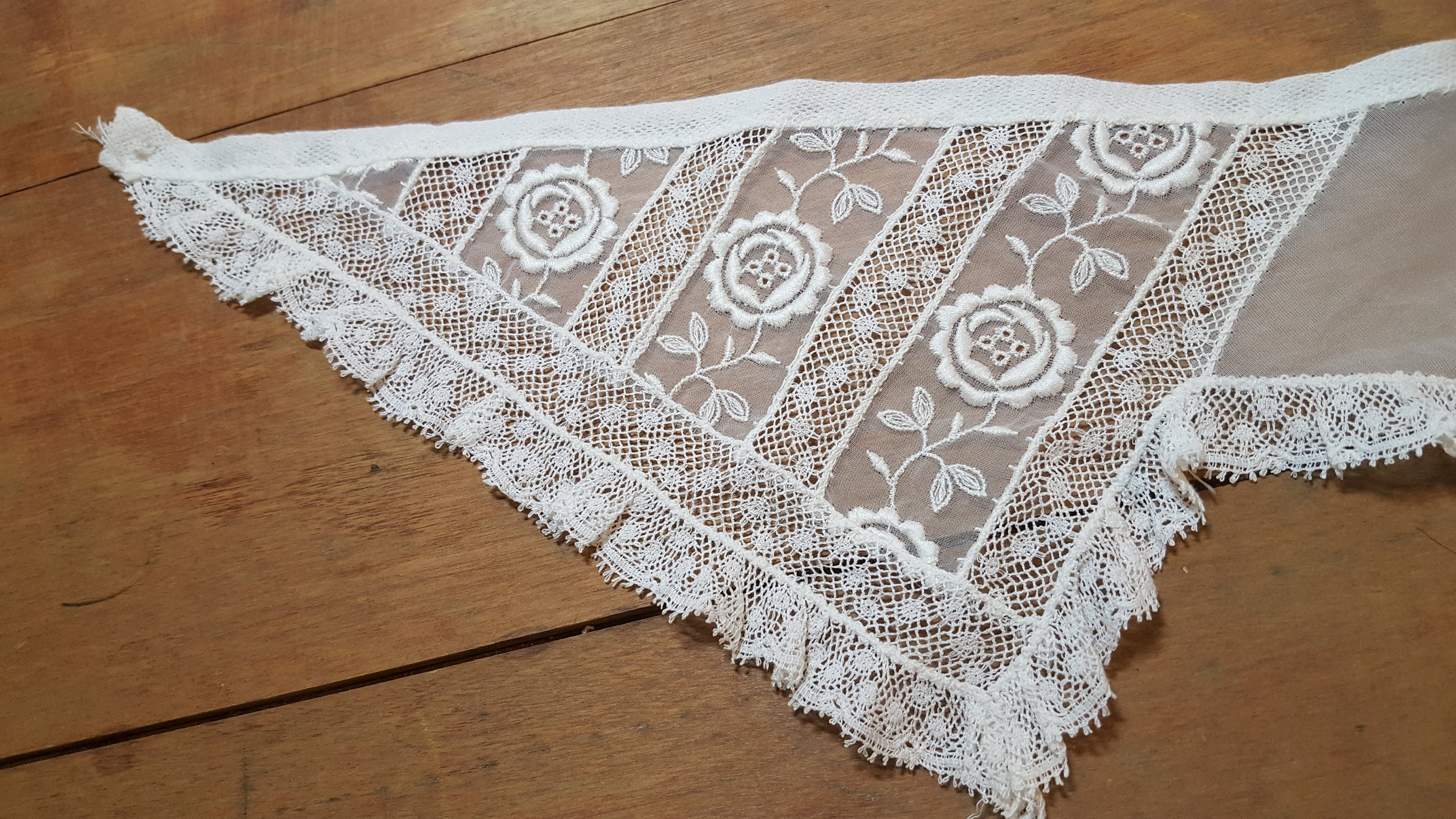 White Organdy Net Lace Collar Floral Embroidery Heirloom Etsy