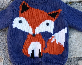 Sweater child boy pattern fox from 18 months to 6 years knitted hand