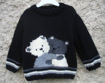 Sweater baby & child Teddy bear hugging 1 year to 6 years handmade